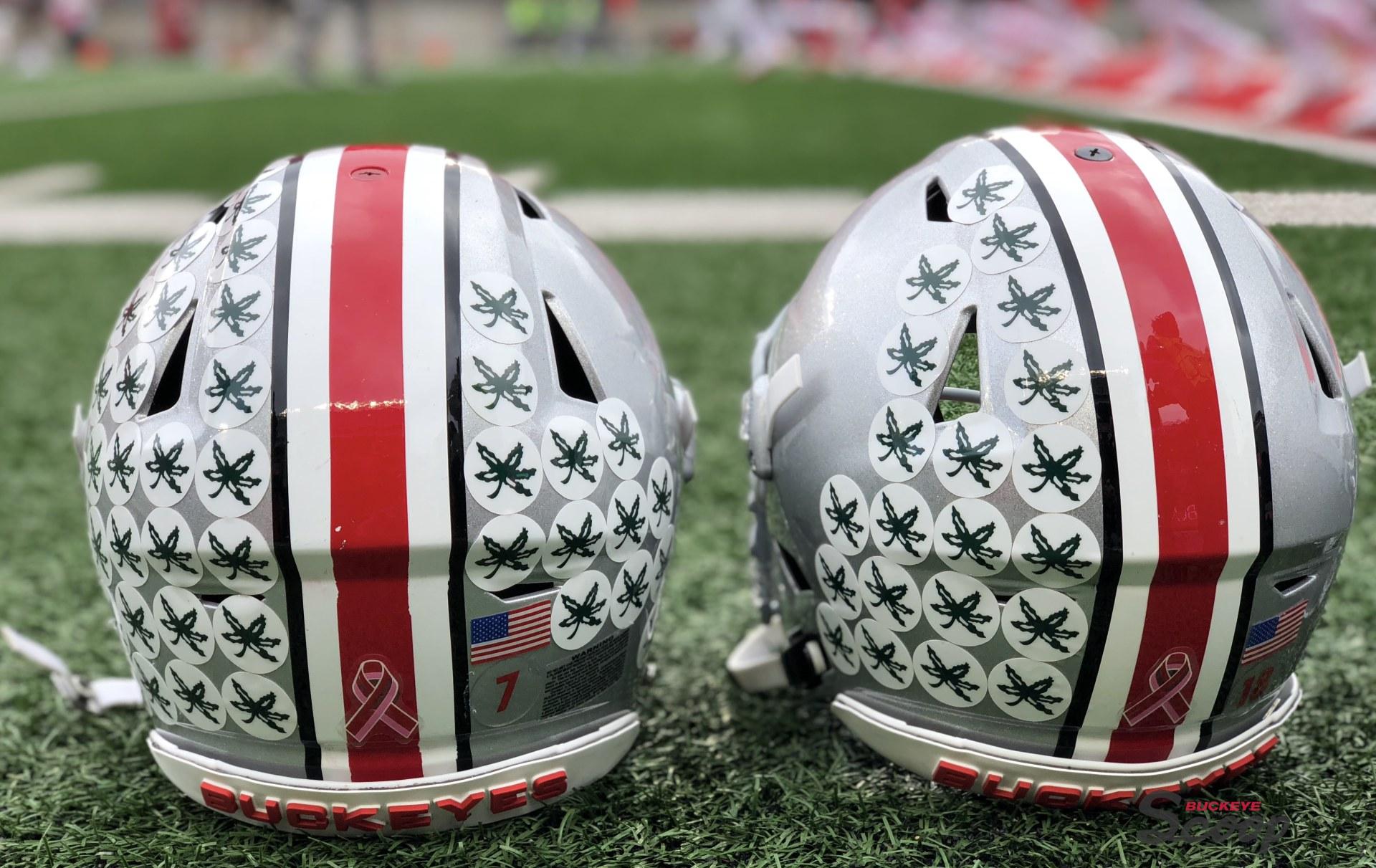 Ohio State football helmets Buckeye stickers